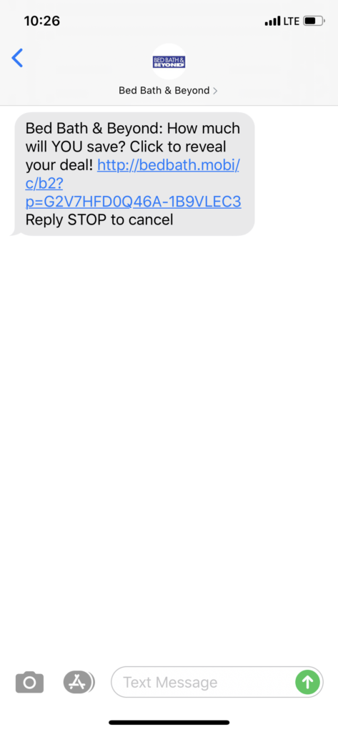 Bed Bath & Beyond Text Message Marketing Example - 02.25.2020
