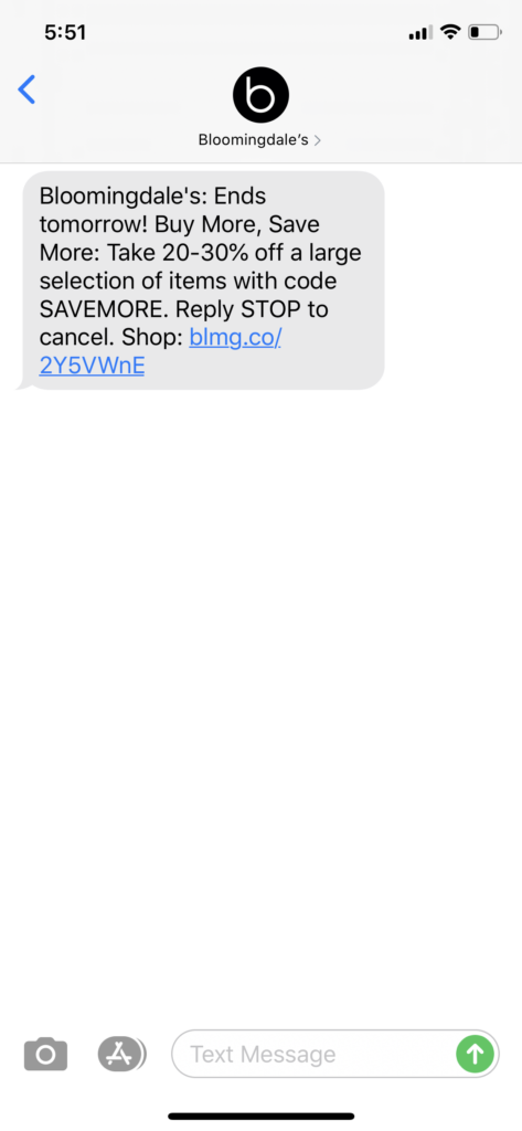 Bloomingdale's Text Message Marketing Example - 04.28.2020