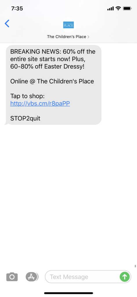Children's Place Text Message Marketing Example - 03.30.2020