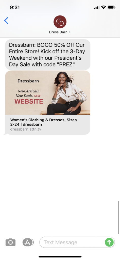Dress Barn Text Message Marketing Example - 02.14.2020