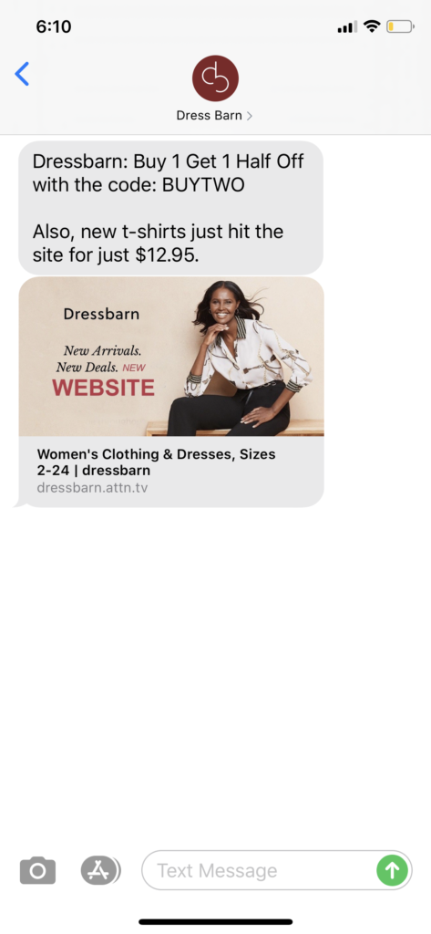 Dress Barn Text Message Marketing Example - 02.27.2020