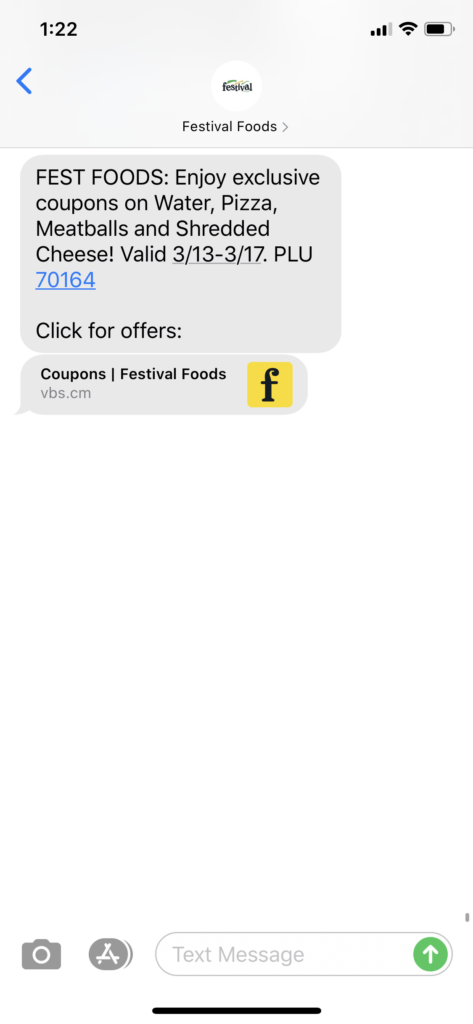 Festival Foods Text Message Marketing Example - 03.12.2020