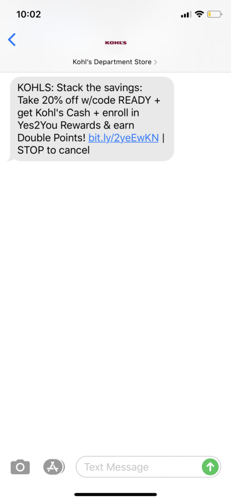 Kohl's Text Message Marketing Example - 04.16.2020