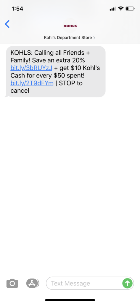 Kohl's Text Message Marketing Example - 02.18.2020