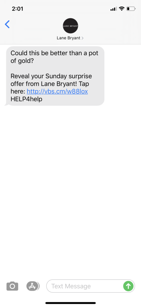 Lane Bryant Text Message Marketing Example - 03.15.2020