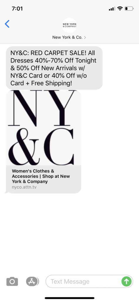 New York and Co Text Message Marketing Example - 02.19.2020