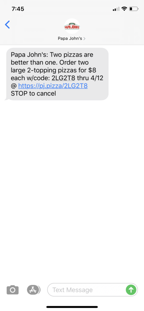 Papa John's Text Message Marketing Example - 04.11.2020