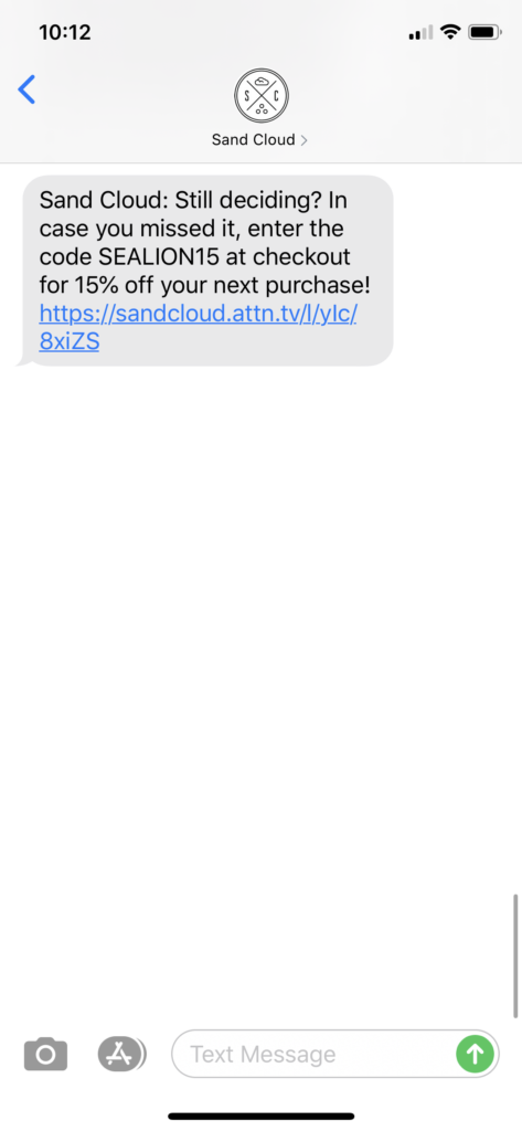 Sand Cloud Text Message Marketing Example - 03.10.2020