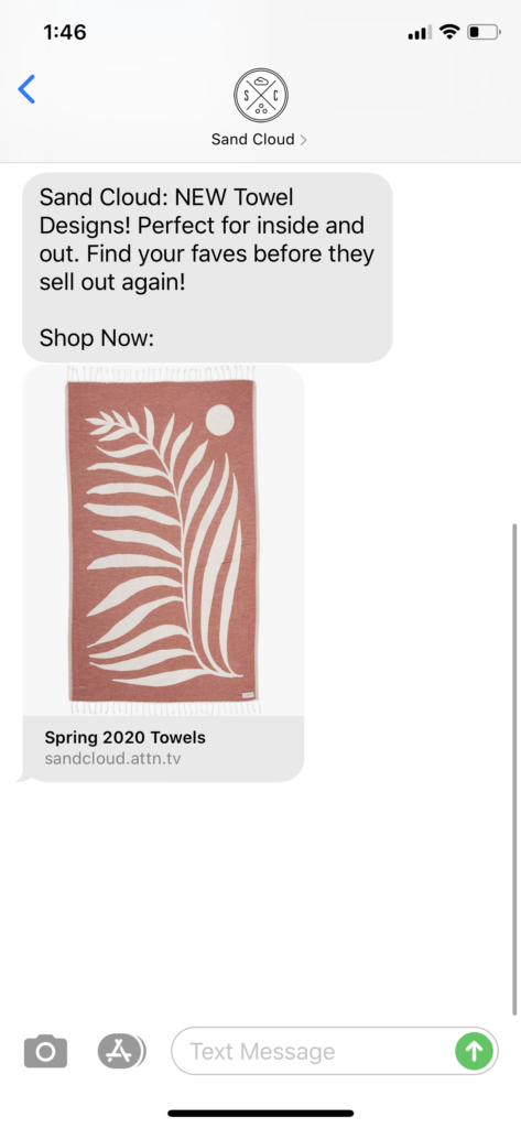 Sand Cloud Text Message Marketing Example - 03.27.2020