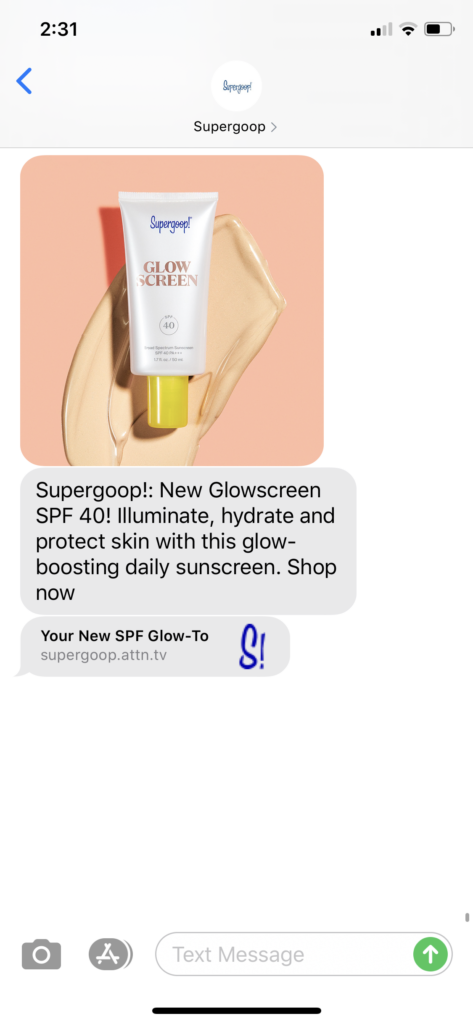 Supergoop Text Message Marketing Example - 03.16.2020