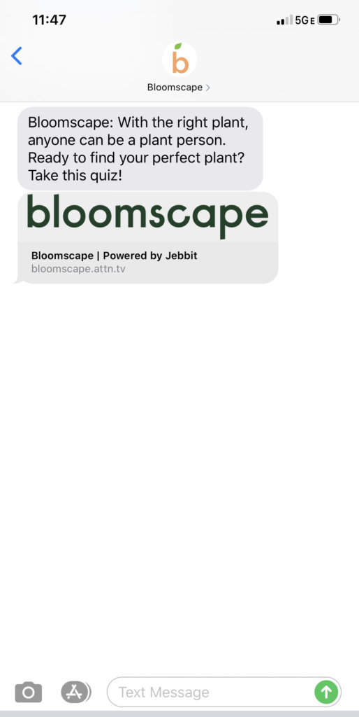 Bloomscape Text Message Marketing Example - 05.21.2020