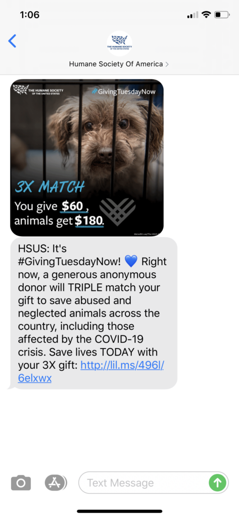 Humane Society of America Text Message Marketing Example2 - 05.05.2020