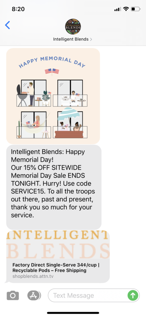 Intelligent Brands Text Message Marketing Example - 05.25.2020