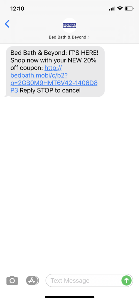 Bed Bath & Beyond Text Message Marketing Example - 06.02.2020