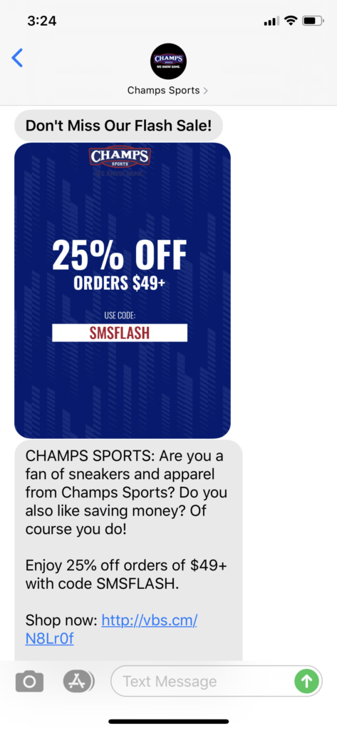 Champ's Sports Text Message Marketing Example - 05.17.2020