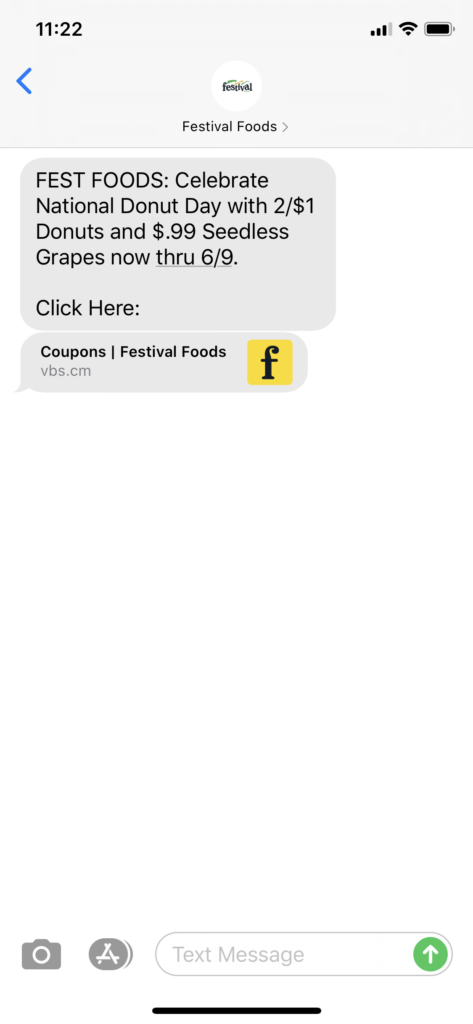 Festival Foods Text Message Marketing Example - 06.03.2020