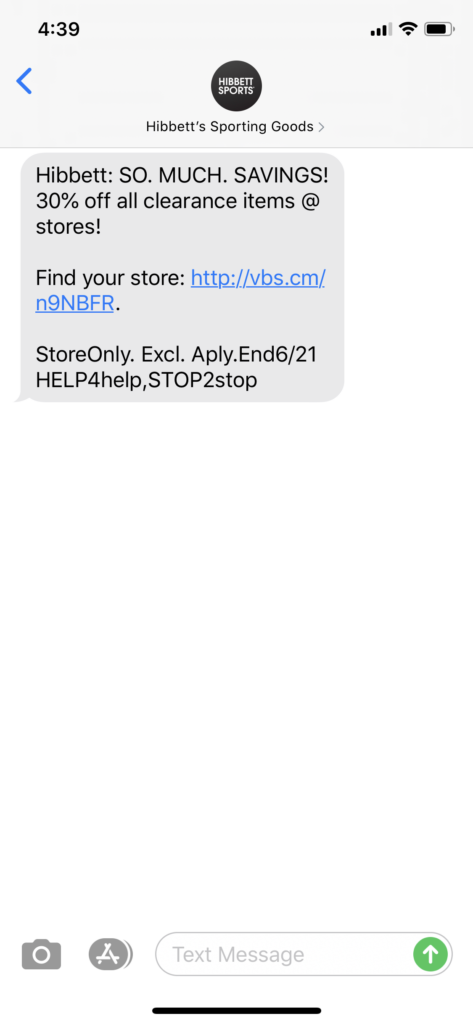 Hibbett's Sporting Goods Text Message Marketing Example - 06.18.2020