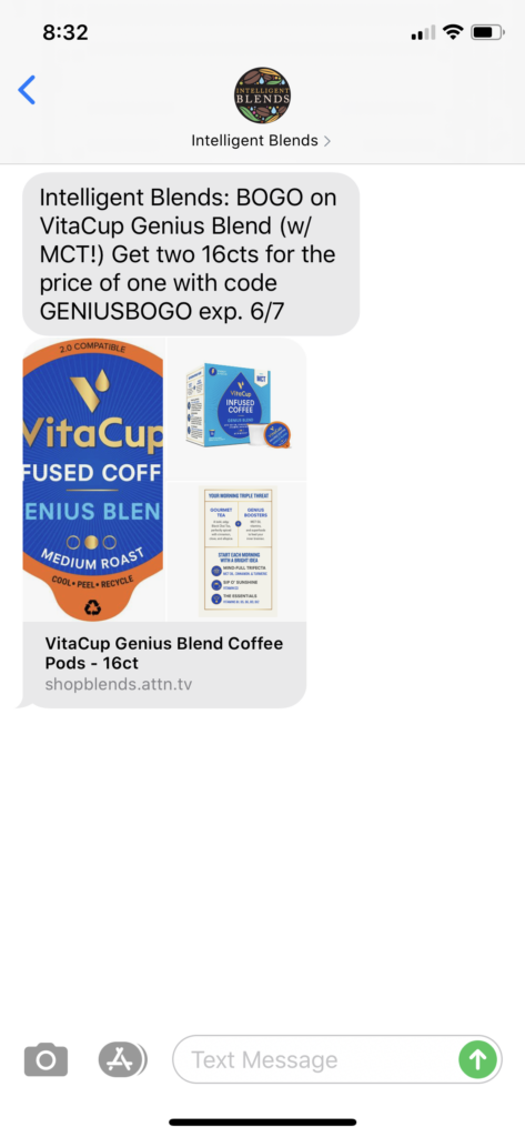 Intelligent Blends Text Message Marketing Example - 06.04.2020