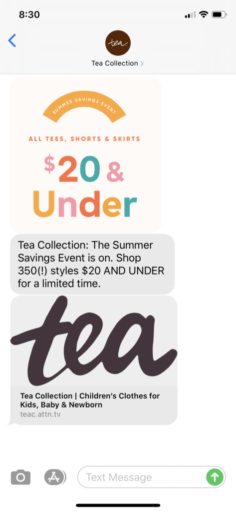 Tea Collection Text Message Marketing Example - 06.04.2020