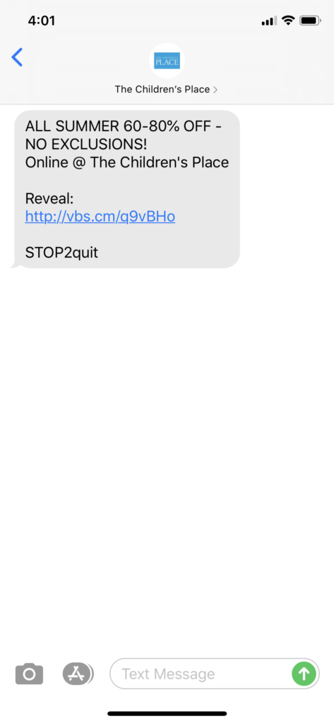 The Children's Place Text Message Marketing Example - 06.18.2020