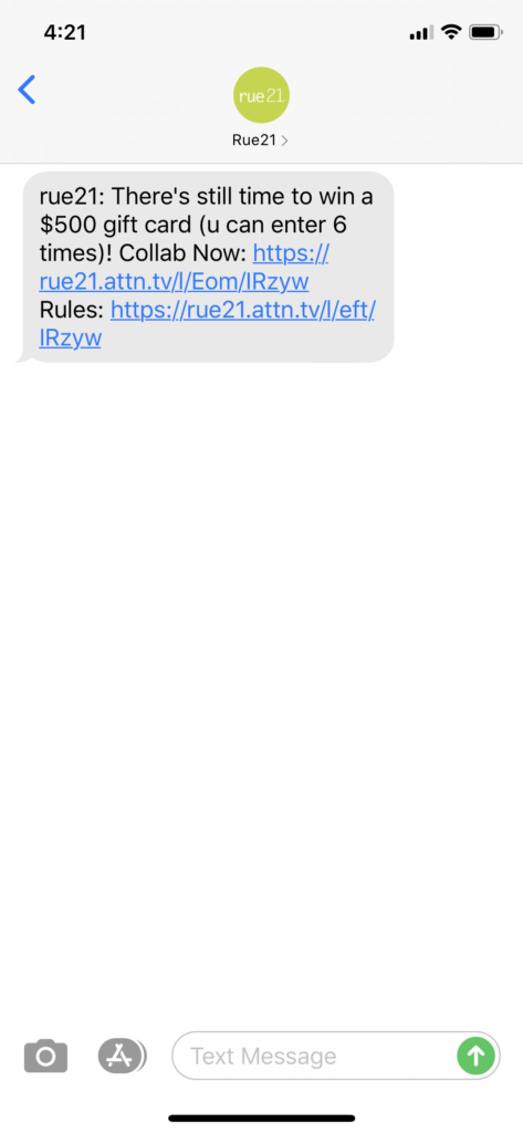 rue21 Text Message Marketing Example - 06.17.2020