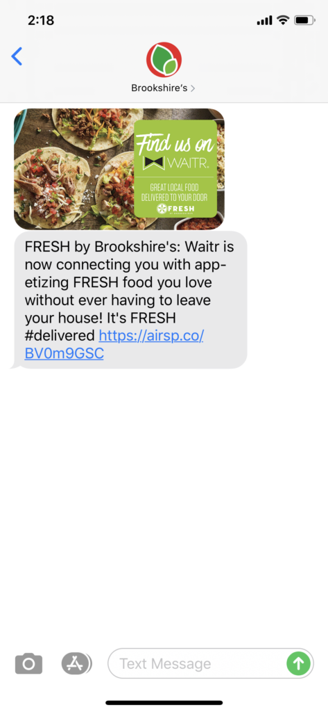 Brookshire's Text Message Marketing Example - 07.14.2020