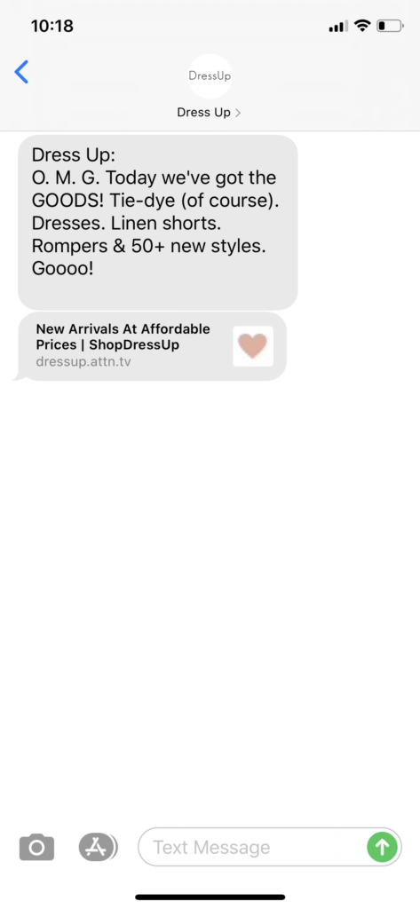 Dress Up Text Message Marketing Example - 07.18.2020