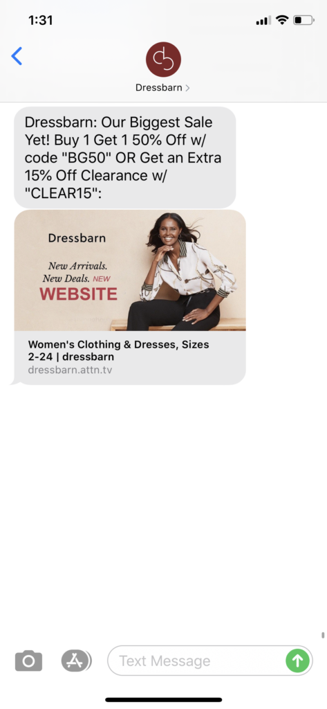 Dressbarn Text Message Marketing Example - 07.11.2020