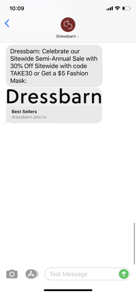 Dressbarn Text Message Marketing Example - 07.19.2020
