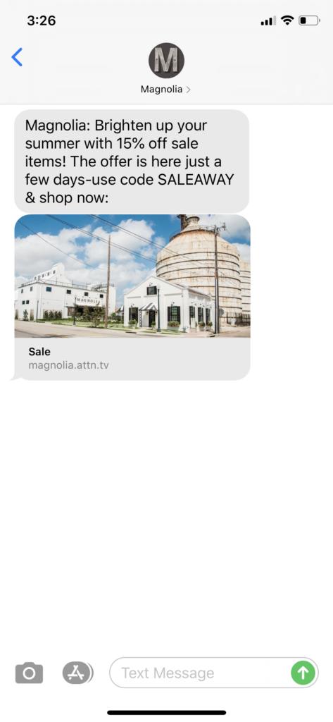 Magnolia Text Message Marketing Example - 07.16.2020