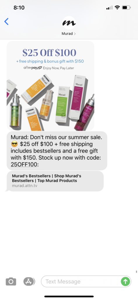 Murad Skincare Text Message Marketing Example - 07.08.2020