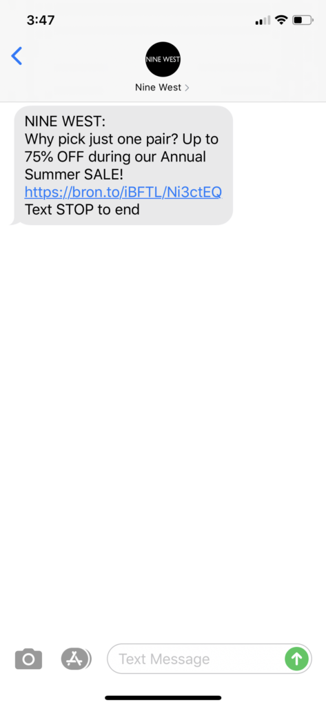 Nine West Text Message Marketing Example - 07.22.2020