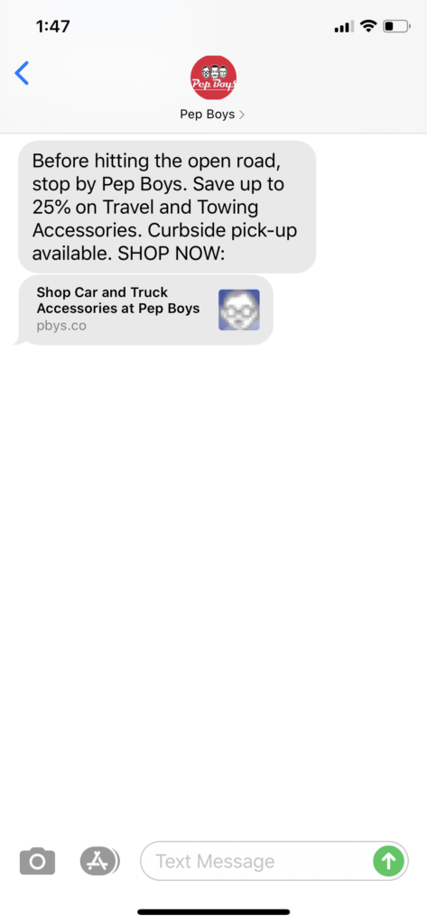 Pep Boys Text Message Marketing Example - 07.10.2020