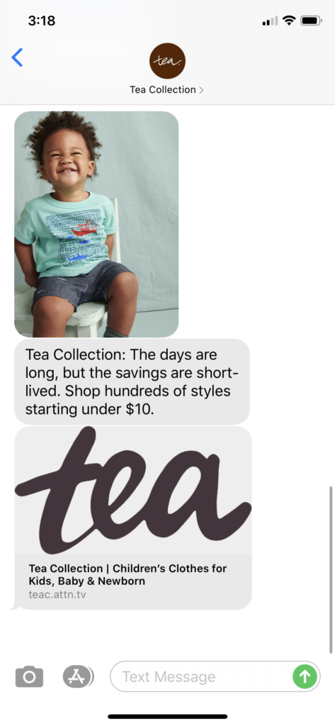 Tea Collection Text Message Marketing Example - 06.26.2020