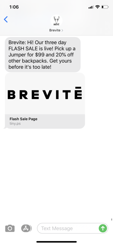 Brevite Text Message Marketing Example - 07.29.2020