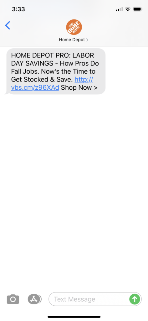 Home Depot Text Message Marketing Example - 08.24.2020