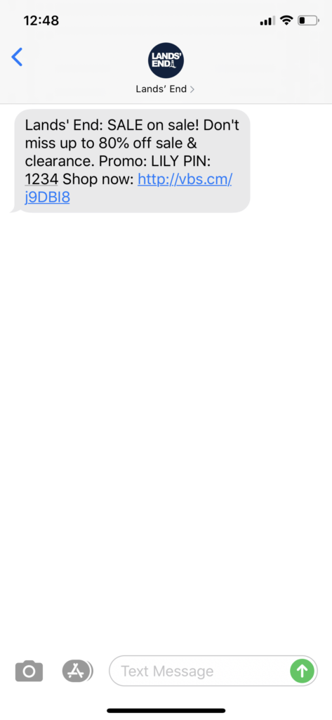 Lands' End Text Message Marketing Example - 07.30.2020