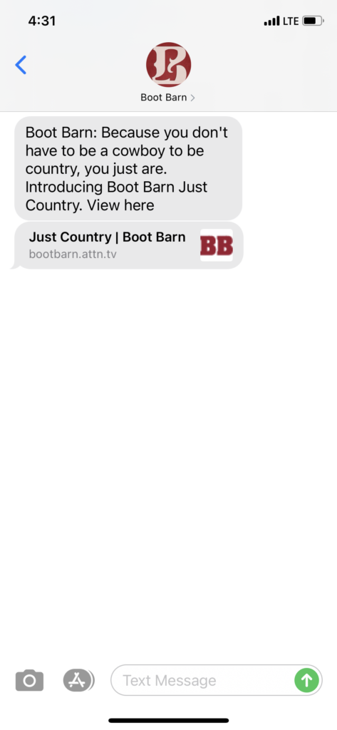 Boot Barn Text Message Marketing Example - 09.28.2020
