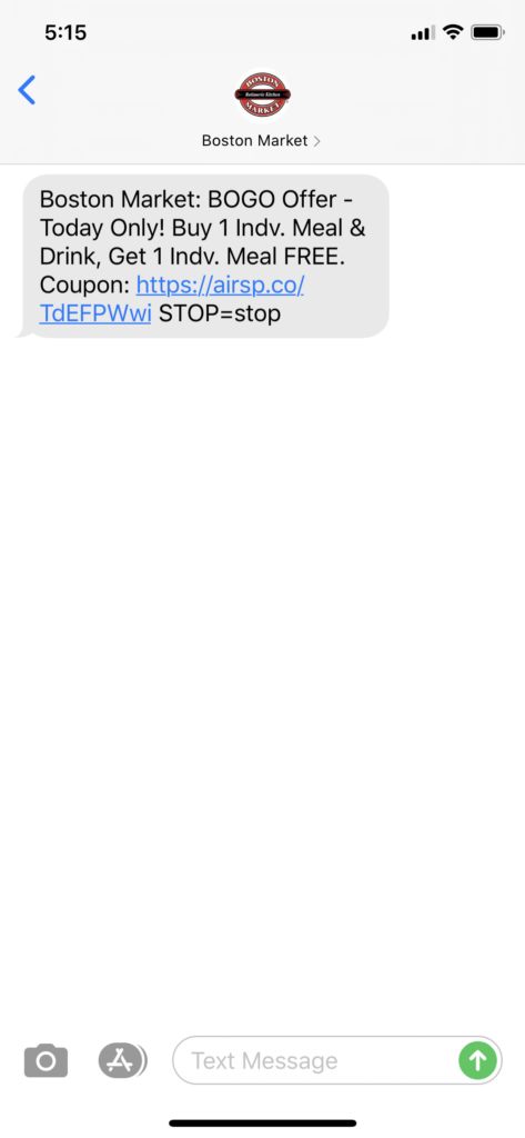 Boston Market Text Message Marketing Example - 09.09.2020