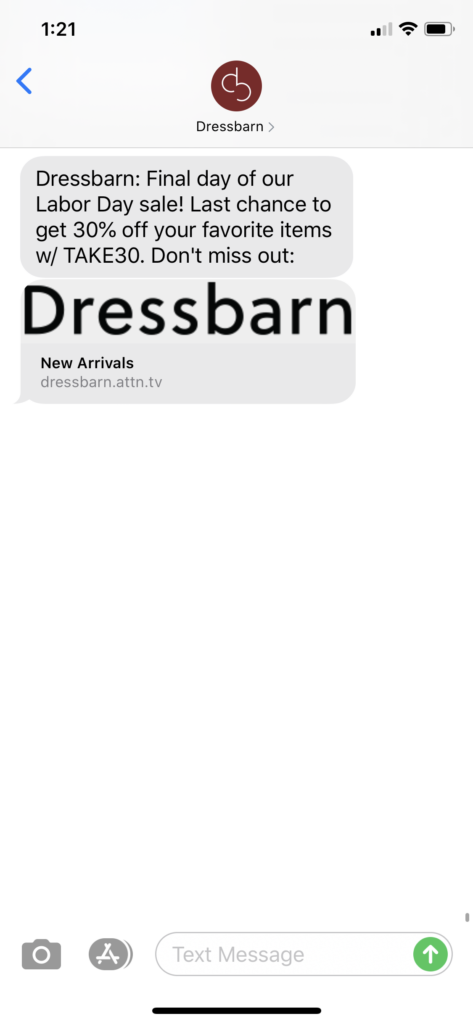 Dressbarn Text Message Marketing Example - 09.07.2020