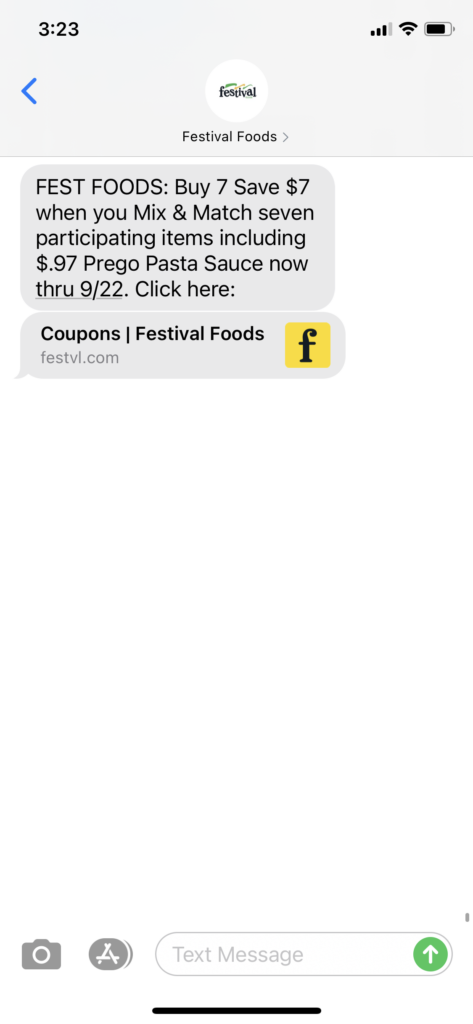Festival Foods Text Message Marketing Example - 09.16.2020