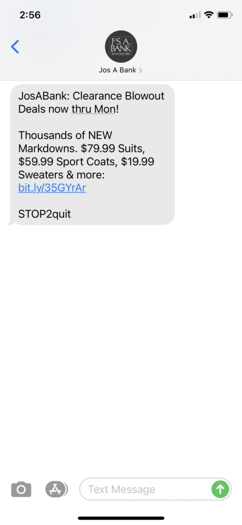 Jos A Bank Text Message Marketing Example - 09.17.2020