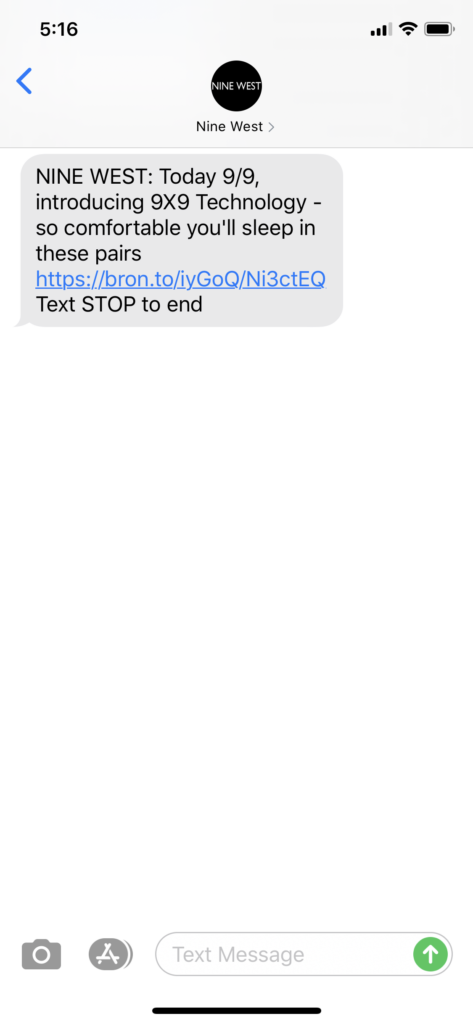 Nine West Text Message Marketing Example - 09.09.2020
