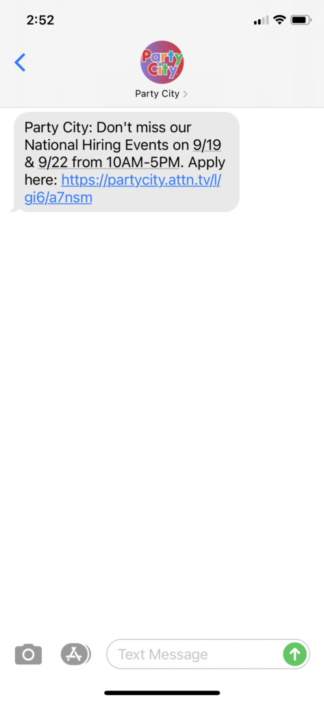Party City Text Message Marketing Example - 09.17.2020