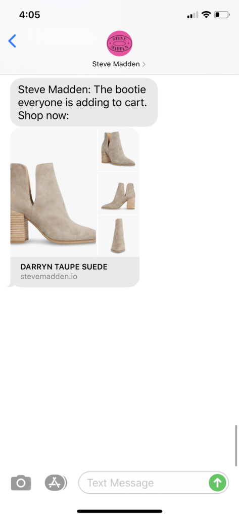 Steve Madden Text Message Marketing Example - 09.13.2020