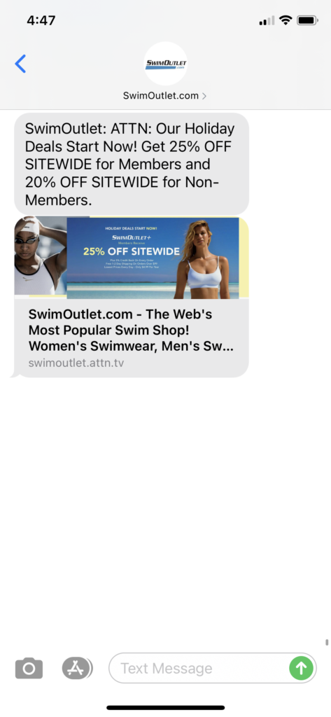 Swim Outlet Text Message Marketing Example - 09.23.2020