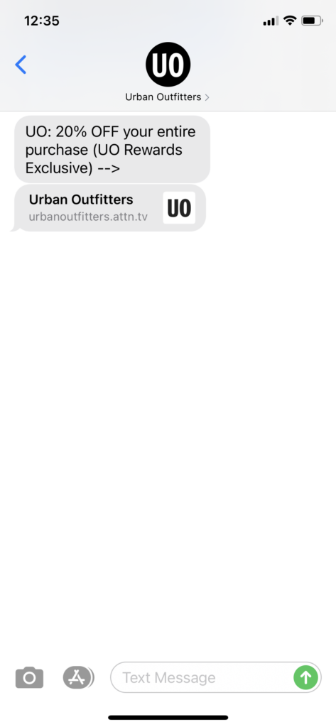 Urban Outfitters Text Message Marketing Example - 09.21.2020