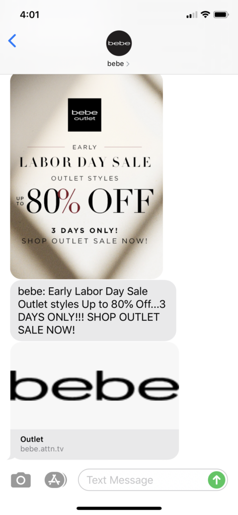 bebe Text Message Marketing Example - 09.01.2020