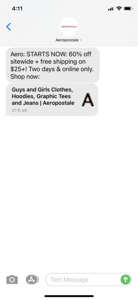 Aeropostale Text Message Marketing Example - 10.13.2020