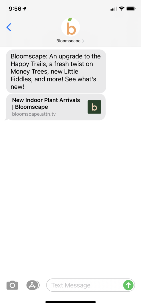 Bloomscape Text Message Marketing Example - 10.19.2020